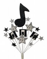 Music notes 18th birthday cake topper decoration in black and silver - free postage